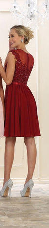 Short Prom Formal Plus Size Chiffon Dress - The Dress Outlet Burgundy May Queen
