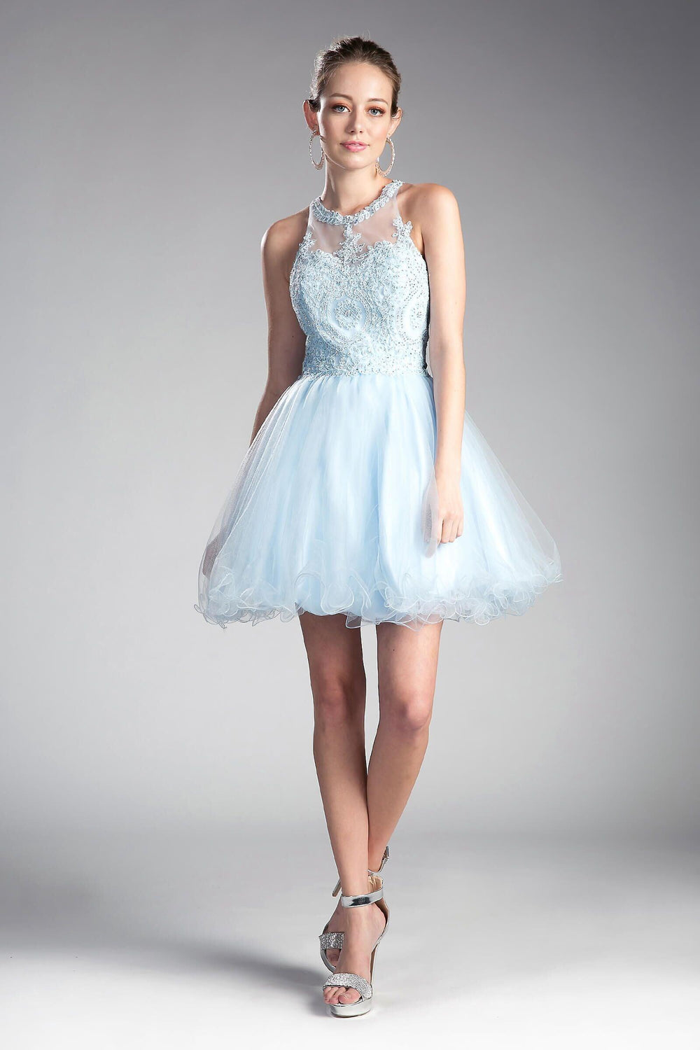 Short Prom Halter Neck Homecoming Dress - The Dress Outlet Baby Blue