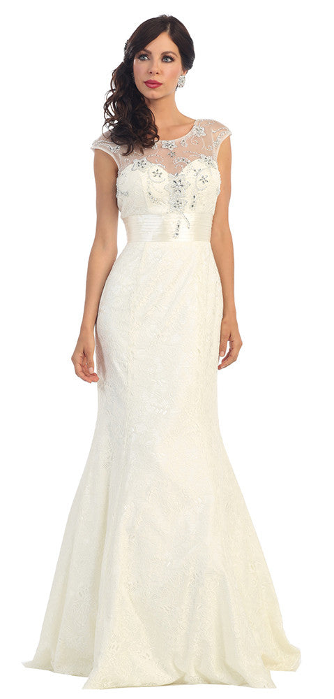 Wedding Long Dress Plus Size - The Dress Outlet Ivory