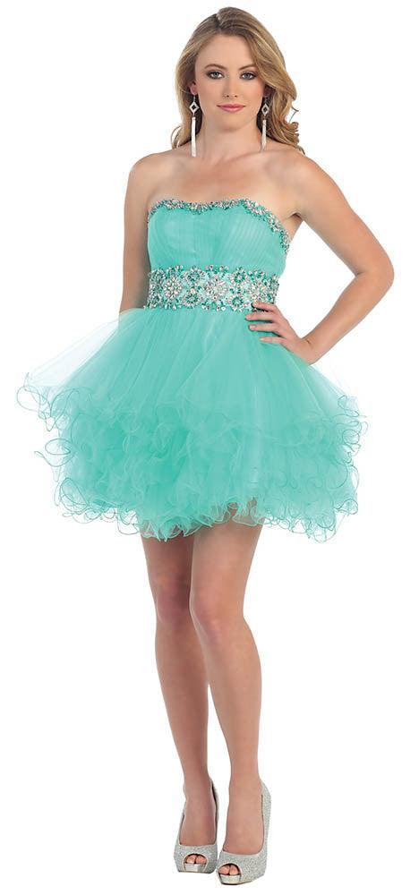 Short Prom Dress Plus Size Homecoming - The Dress Outlet Mint