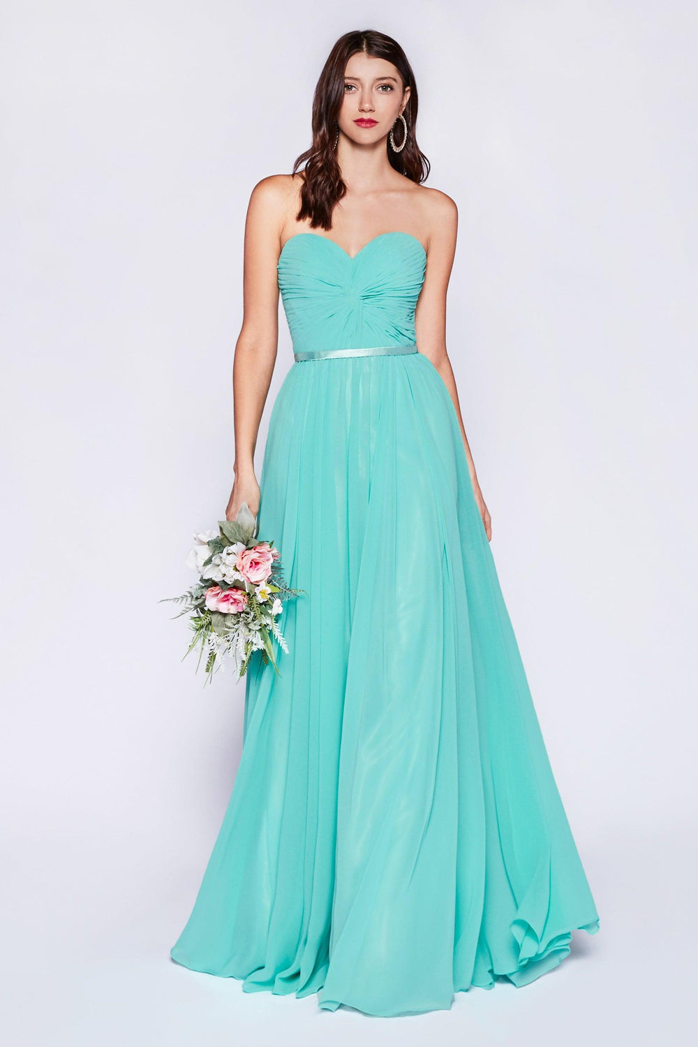 Strapless Chiffon Empire Waist Prom Dress - The Dress Outlet Mint