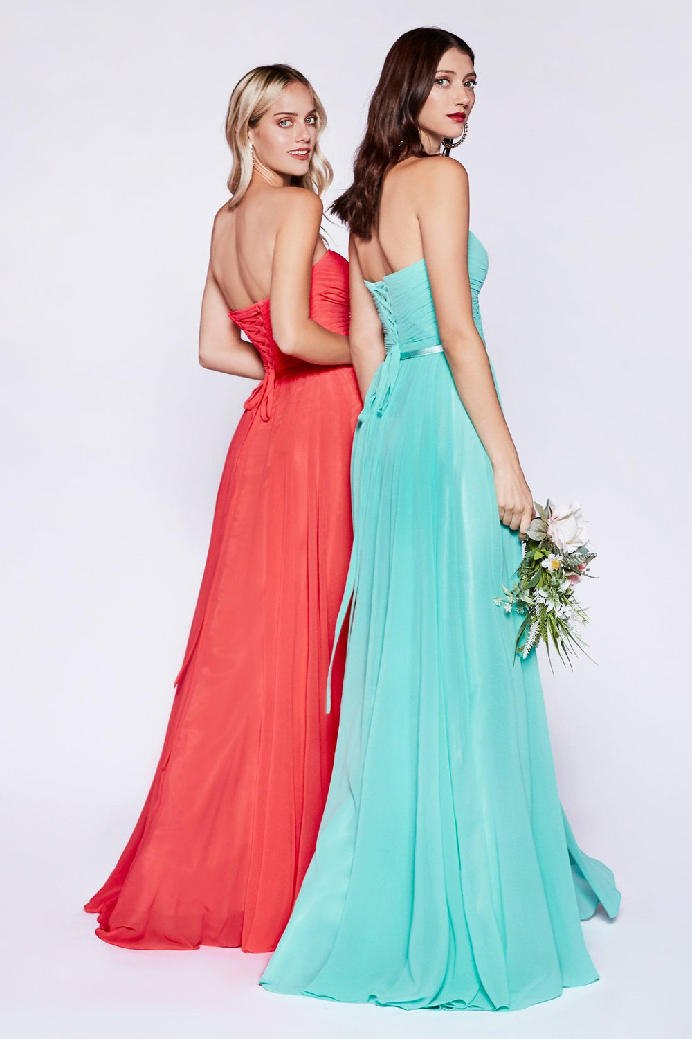 Strapless Chiffon Empire Waist Prom Dress - The Dress Outlet