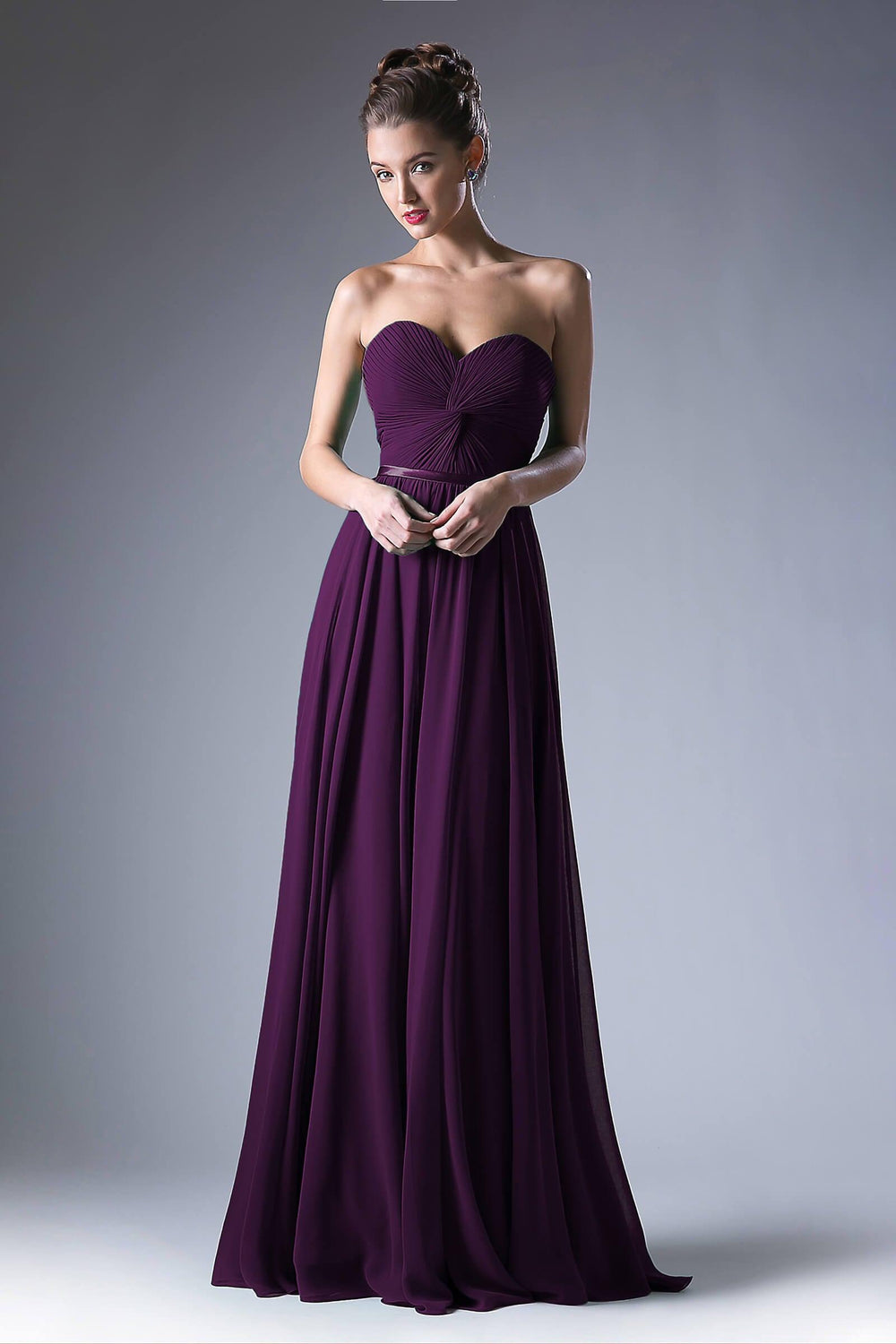 Strapless Chiffon Empire Waist Prom Dress - The Dress Outlet Eggplant