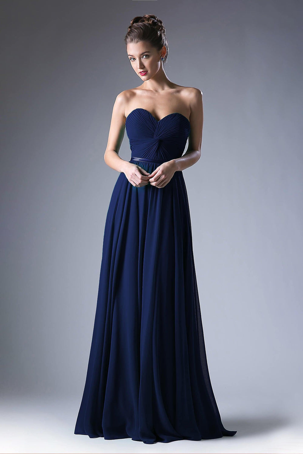 Strapless Chiffon Empire Waist Prom Dress - The Dress Outlet Navy