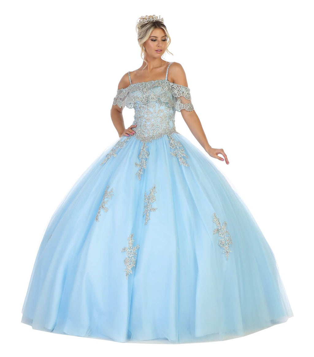 Sweet 16 Long Quinceanera Plus Size Dress - The Dress Outlet Sky Blue May Queen