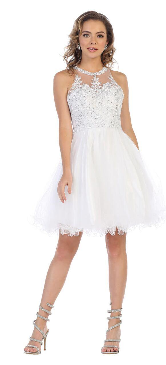 Short Prom Halter Neck Homecoming Dress - The Dress Outlet White May Queen
