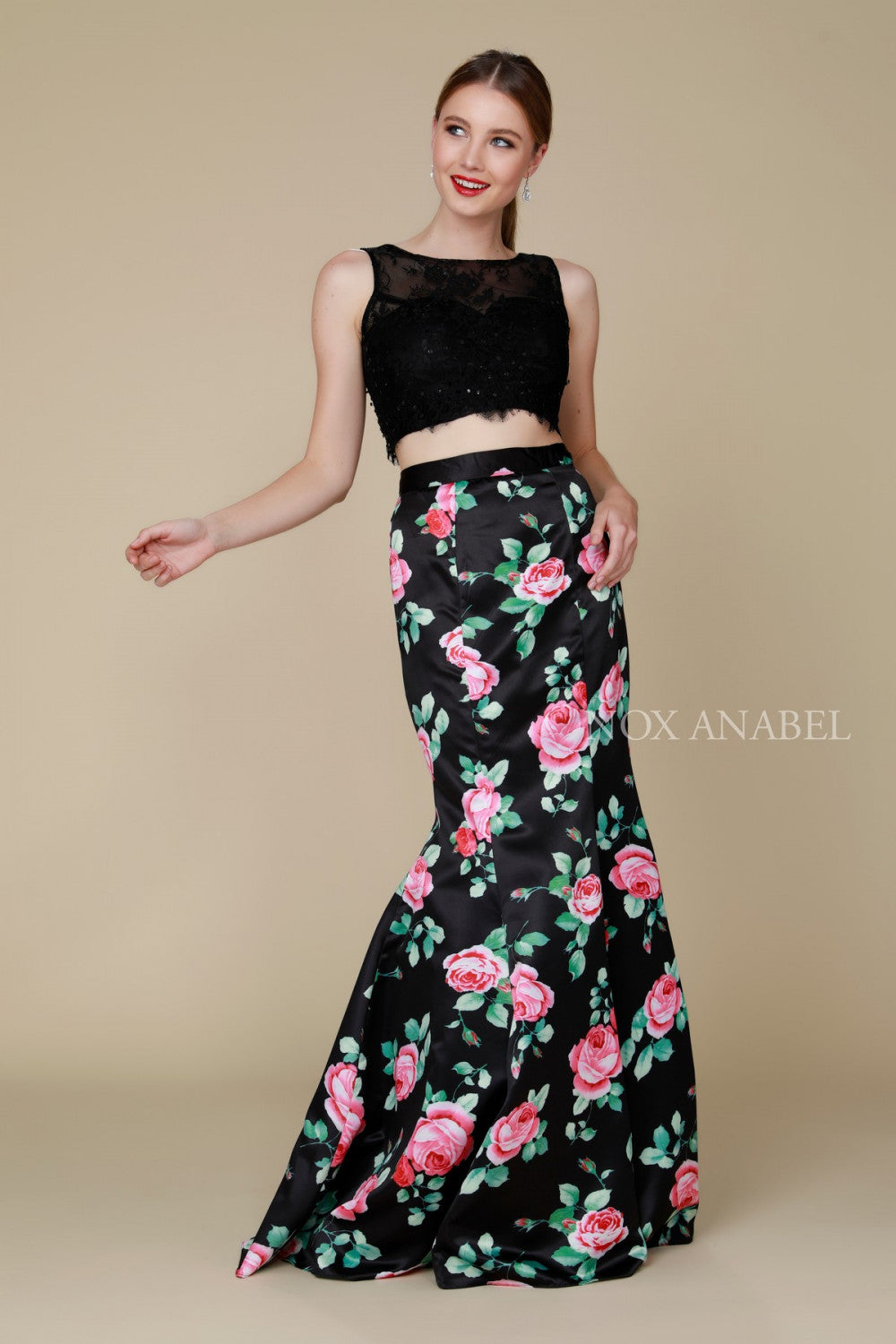 ee63c36b6b6a Two Piece Prom Dress Formal Evening Gown - The Dress Outlet Black Nox  Anabel ...