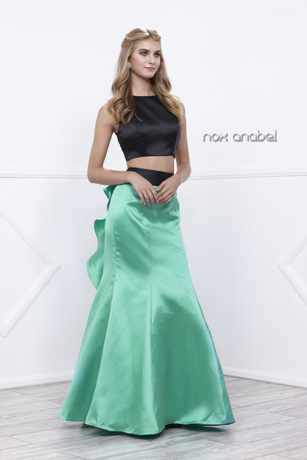 Two Piece High Neck Crop Top Prom Dress - The Dress Outlet Emerald Green