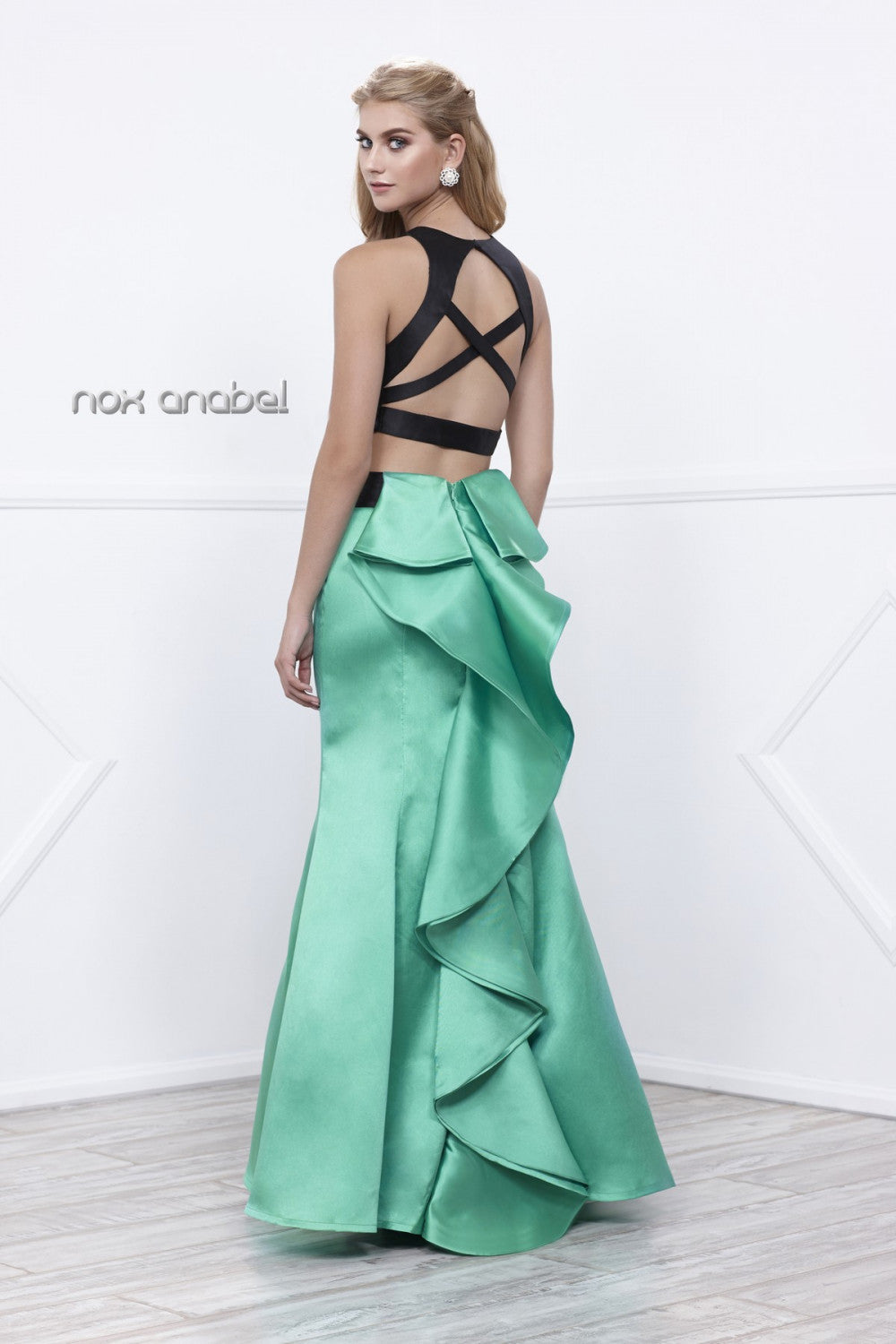 Two Piece High Neck Crop Top Prom Dress - The Dress Outlet