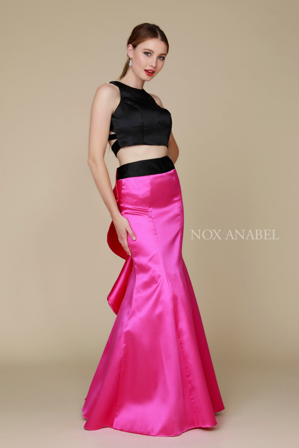 Two Piece High Neck Crop Top Prom Dress - The Dress Outlet Fuchsia