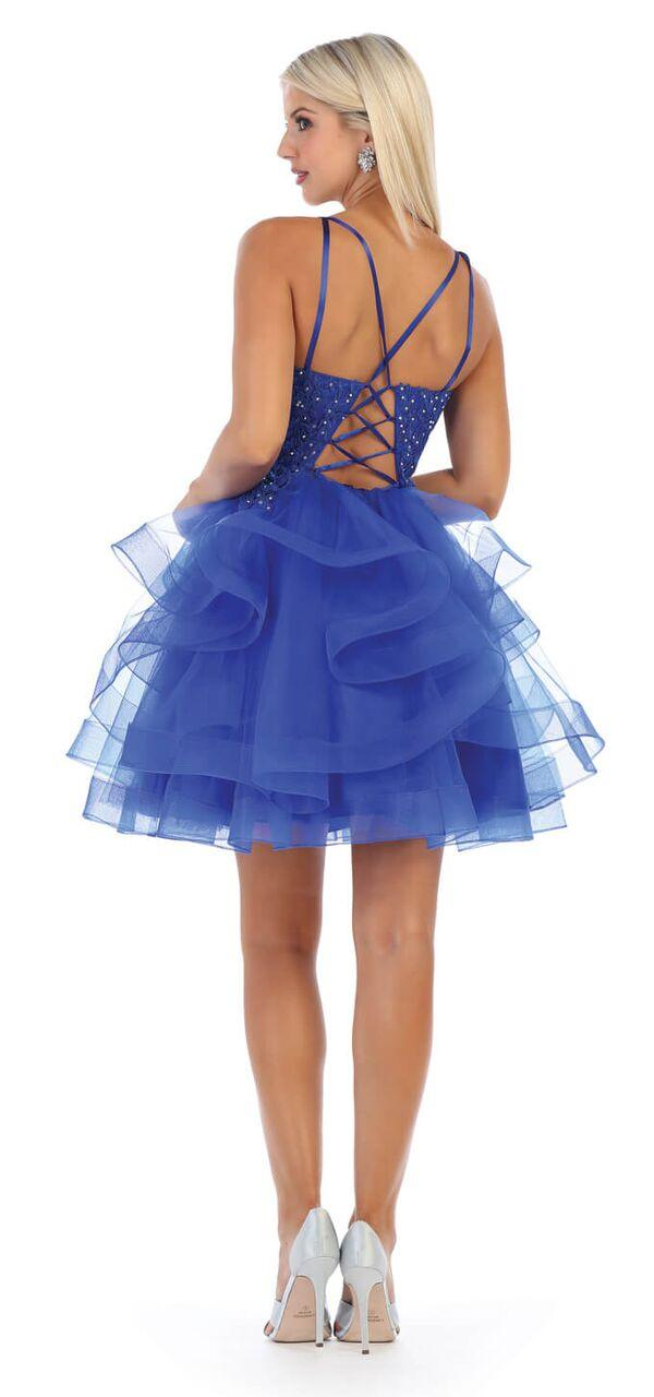 Short Prom Graduation Strap Dress with Ruffled Skirt - The Dress Outlet