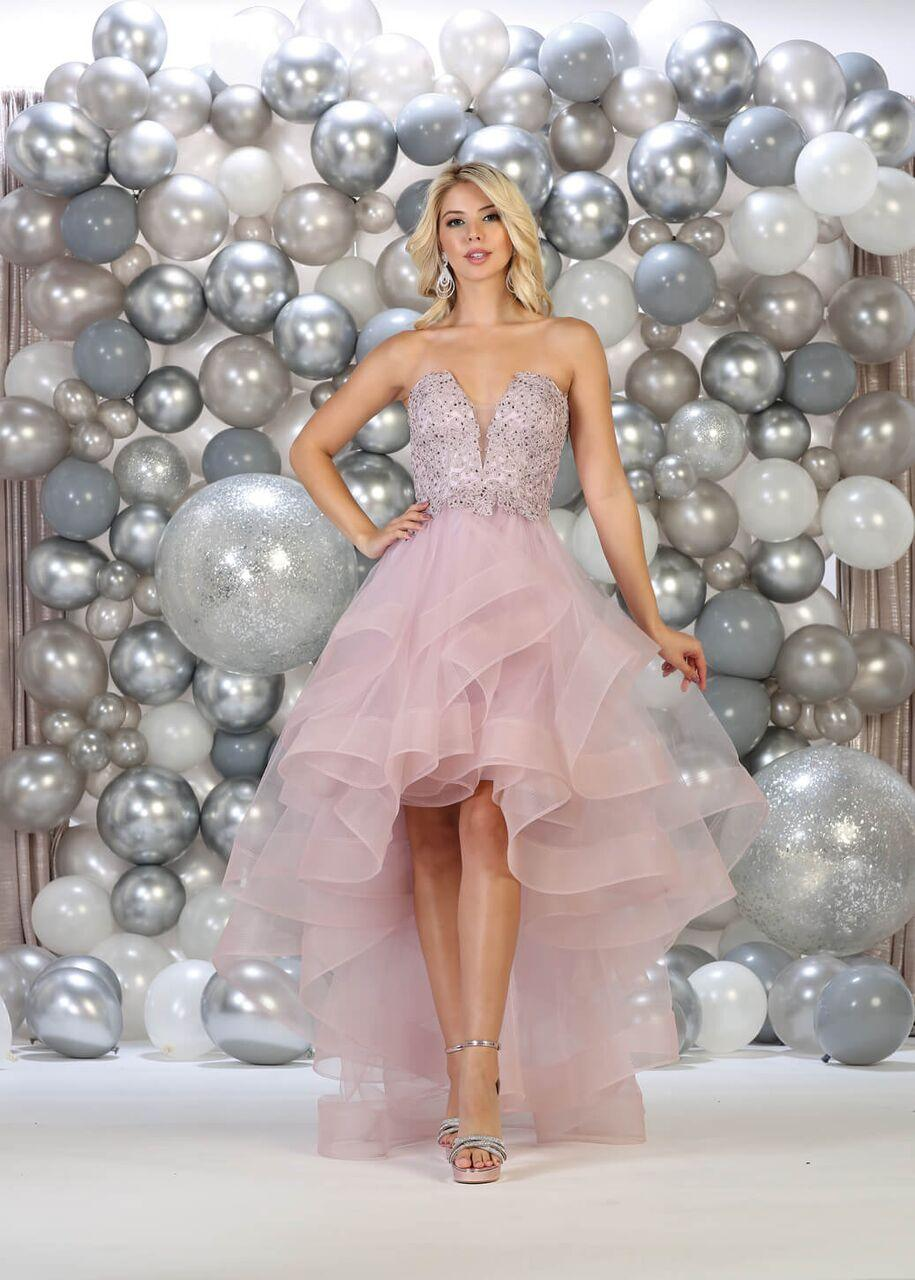 Strapless High Low Prom Dress Ruffled Skirt Gown - The Dress Outlet Mauve