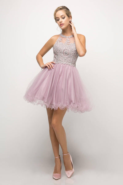 Short Prom Halter Lace Bodice Homecoming Dress - The Dress Outlet Mauve