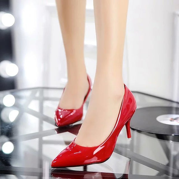 Wedding Pointed Patent Leather Shoes High Heels - The Dress Outlet Red LC