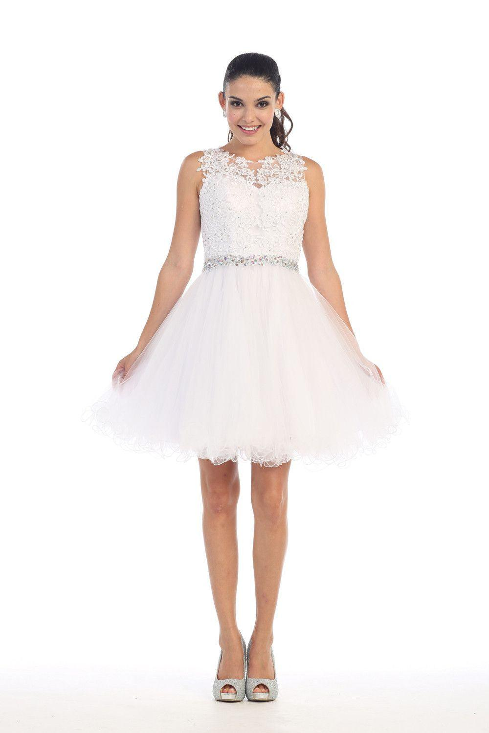 Short Prom Homecoming Graduation Dress - The Dress Outlet White May Queen