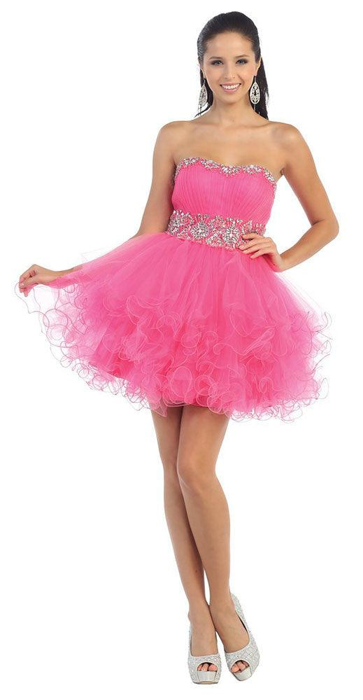 Short Prom Dress Plus Size Homecoming - The Dress Outlet Hot Pink