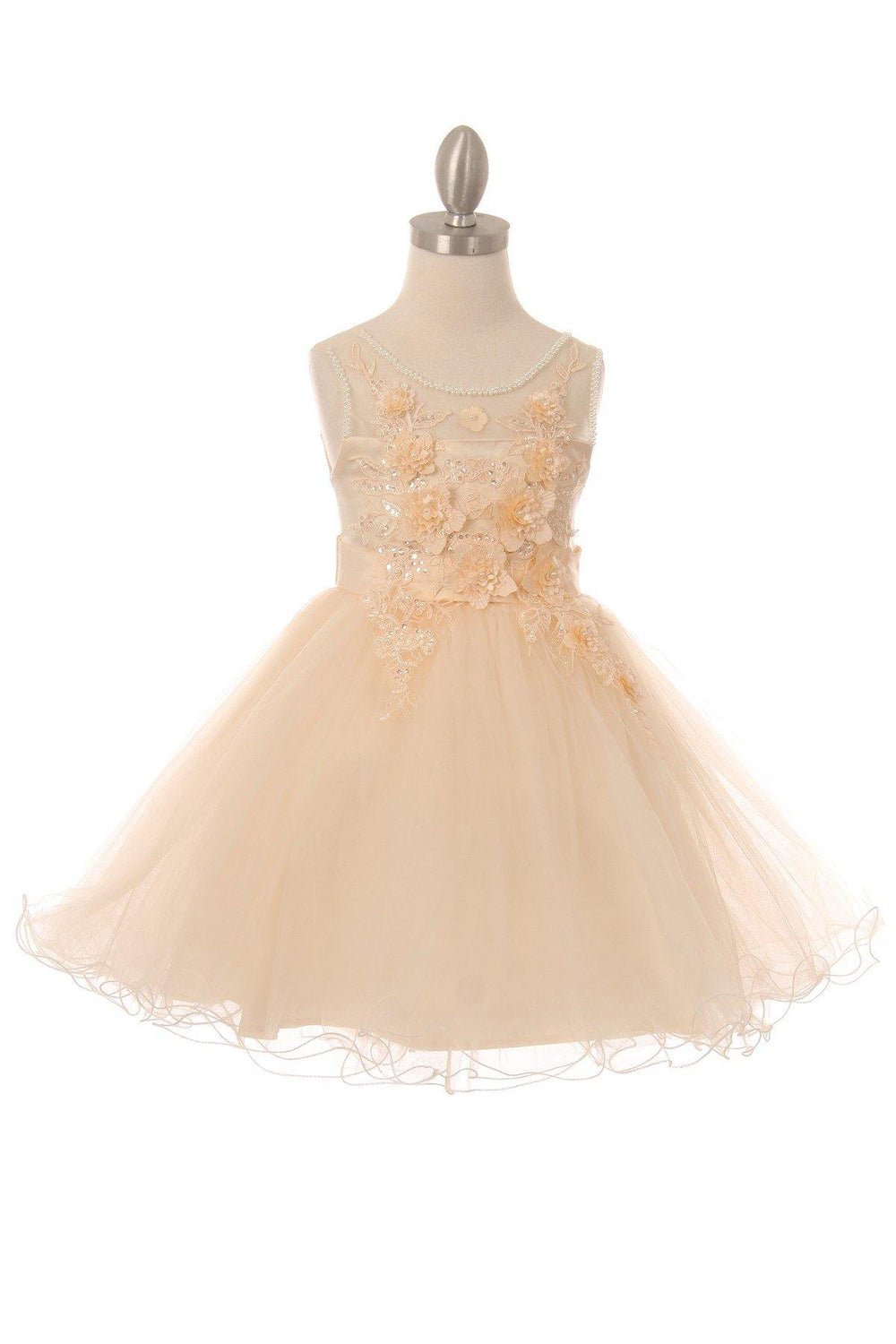 Sleeveless Embellished Short Party Flower Girls Dress - The Dress Outlet Champagne