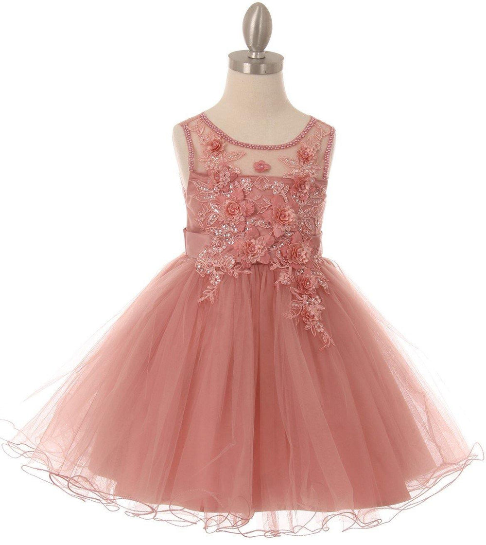 Sleeveless Embellished Short Party Flower Girls Dress - The Dress Outlet Mauve
