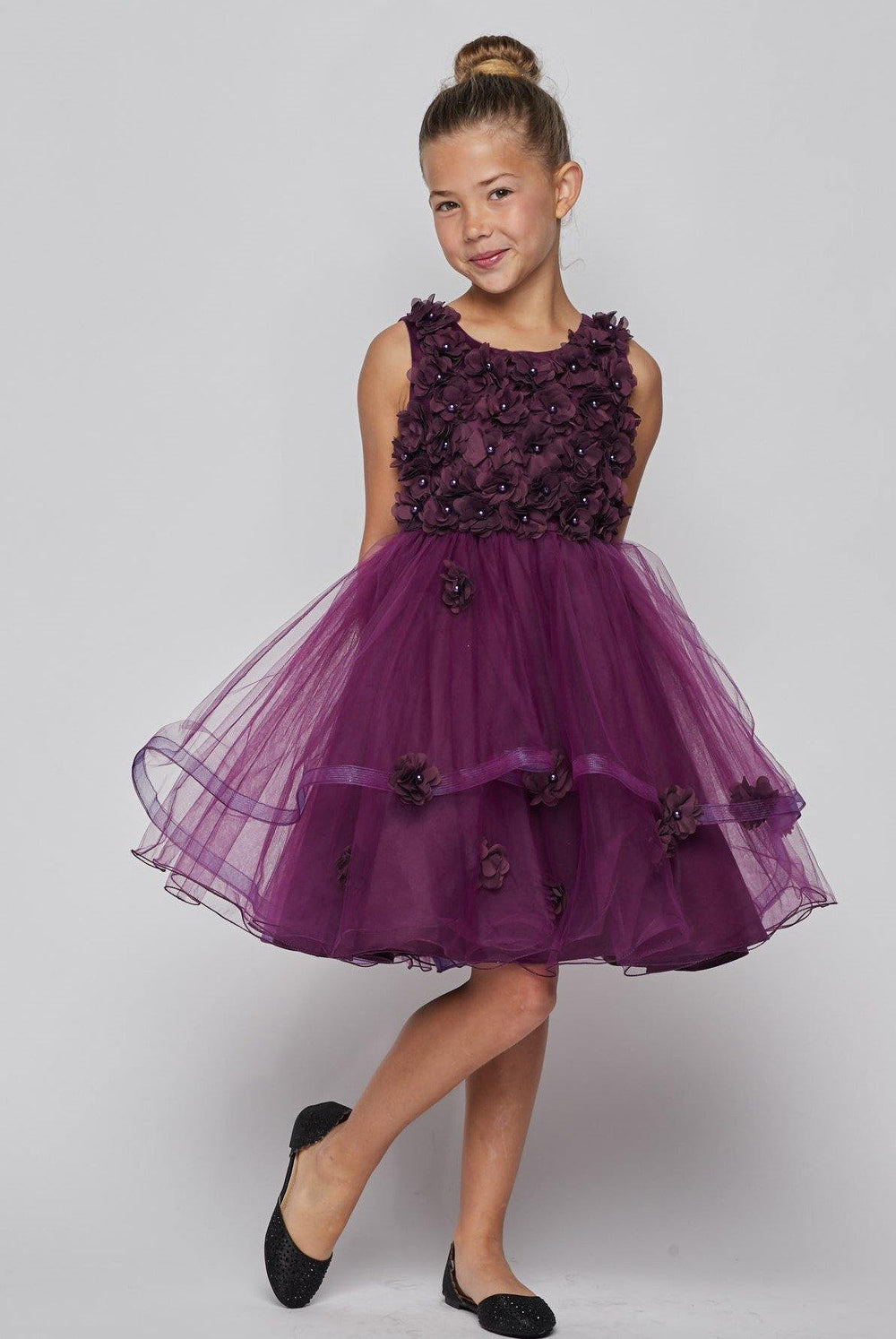 Sleeveless Embellished Short Party Flower Girls Dress - The Dress Outlet Purple
