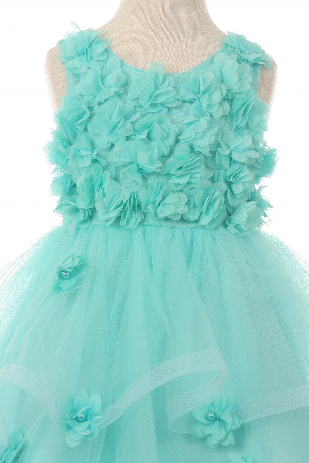 Sleeveless Embellished Short Party Flower Girls Dress - The Dress Outlet