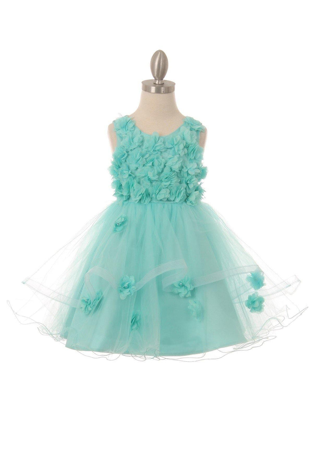 Sleeveless Embellished Short Party Flower Girls Dress - The Dress Outlet Aqua