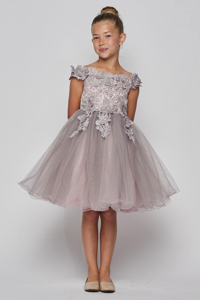 Short Sleeve Embellished Party Flower Girls Dress - The Dress Outlet Cinderella Couture
