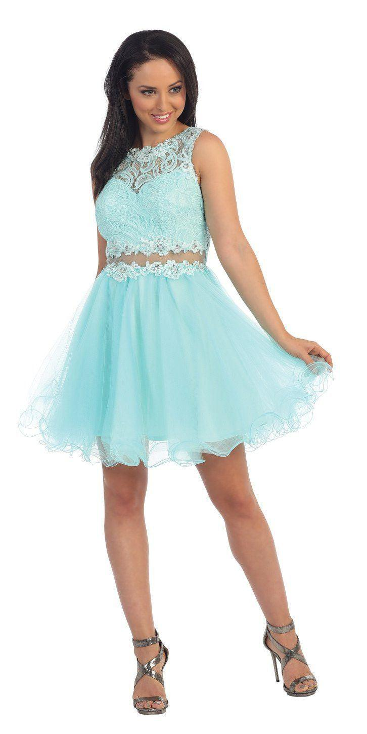 Short Prom Formal Homecoming Dress - The Dress Outlet Aqua