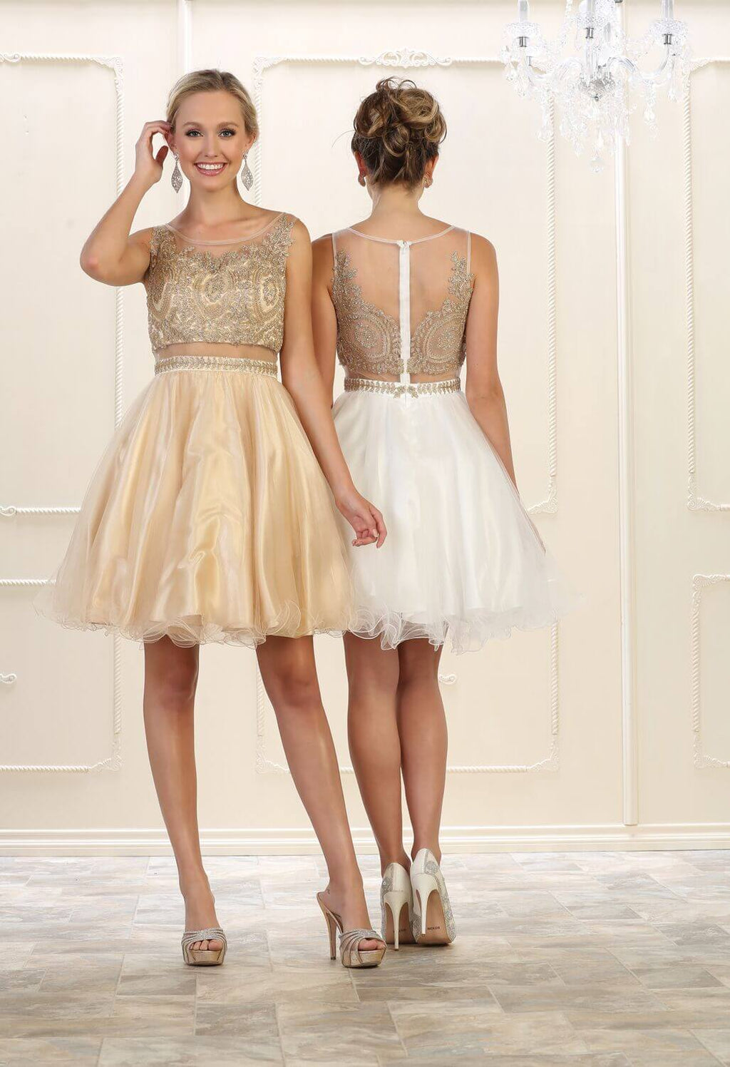 Short Prom Dress Homecoming - The Dress Outlet Ivory/Gold May Queen