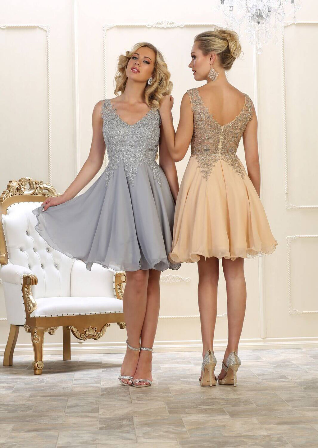 Short Prom Homecoming Dress - The Dress Outlet Champagne May Queen