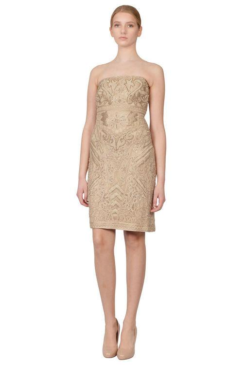 Sue Wong Short Strapless Cocktail Dress - The Dress Outlet Beige