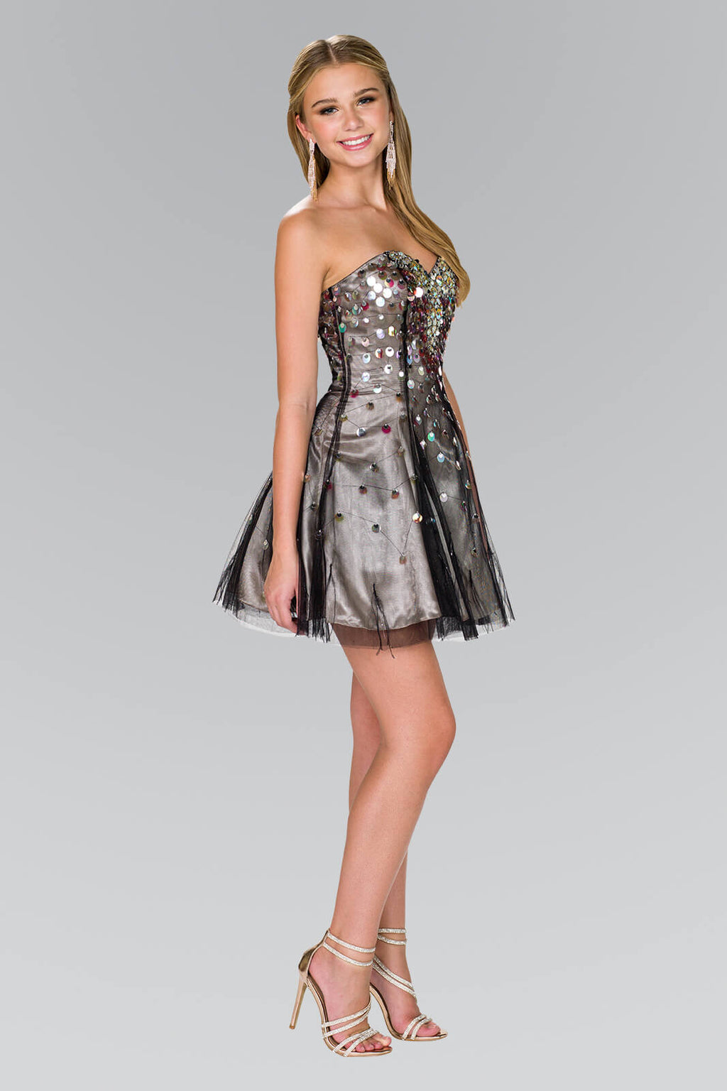 Strapless Short Prom Dress Formal Homecoming - The Dress Outlet Nude