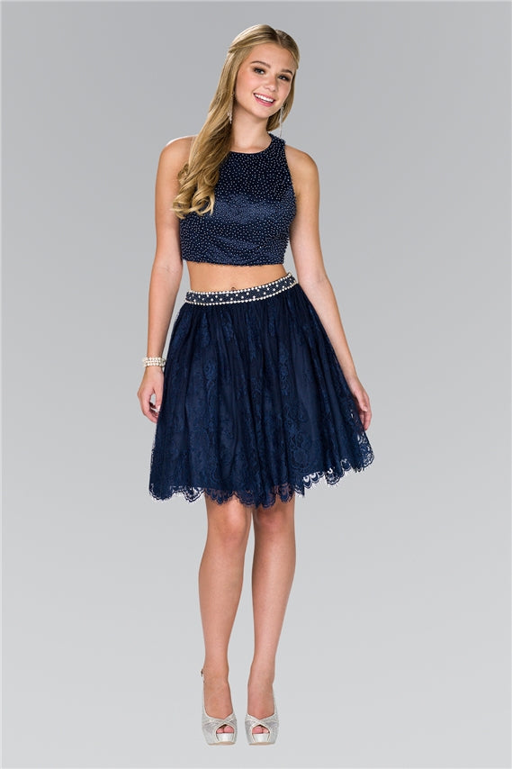 Two Piece Prom Dress Formal Cocktail - The Dress Outlet Navy