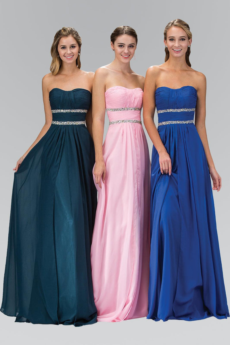 Strapless Long Prom Chiffon Dress Formal