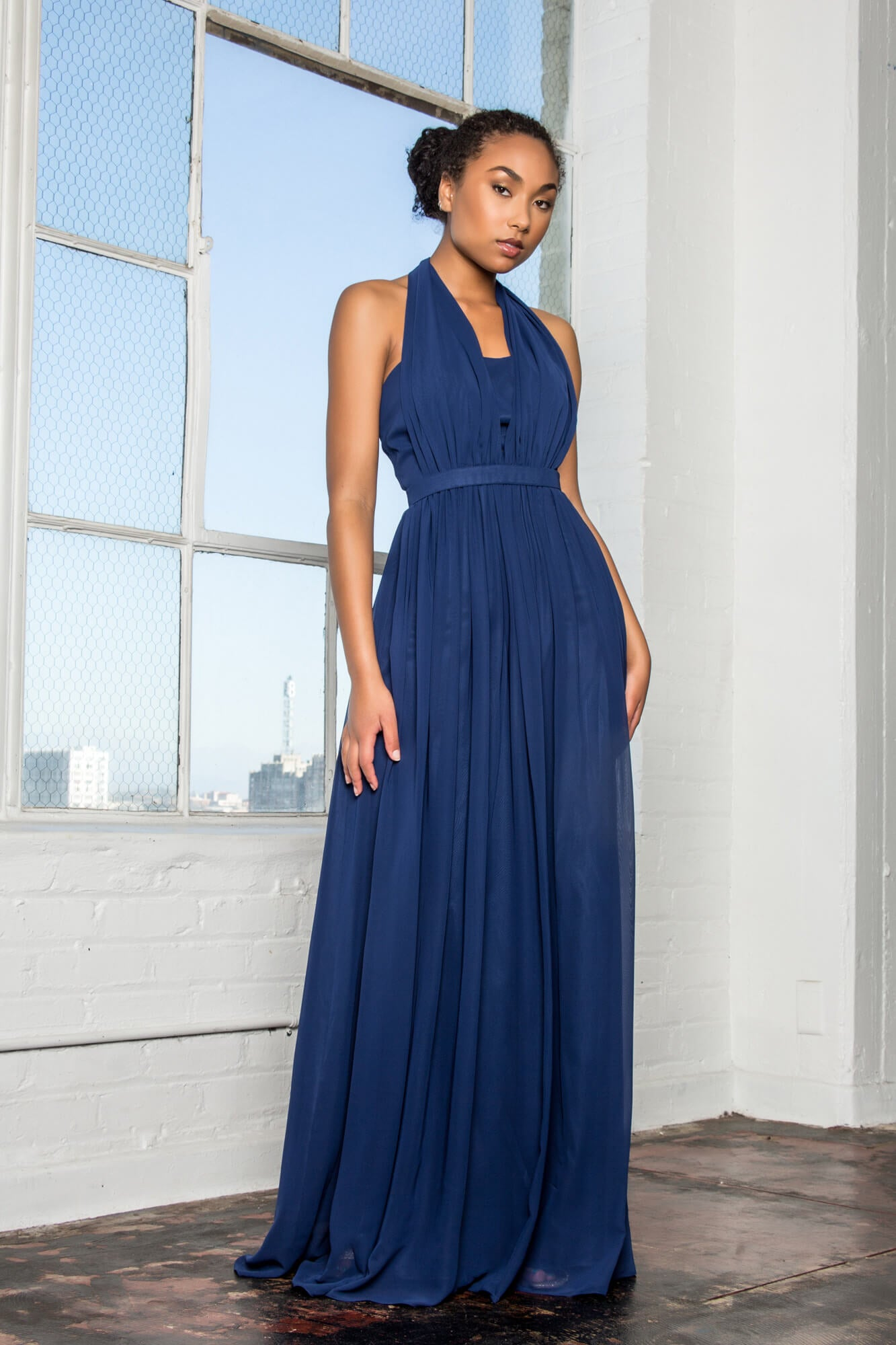 V-Neck Halter Chiffon Long Formal Dress - The Dress Outlet Elizabeth K