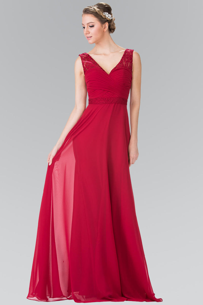 V-Neck Chiffon Long Formal Dress