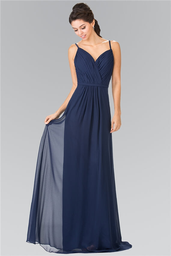 Sweetheart Spaghetti Strap Long Chiffon Dress Formal