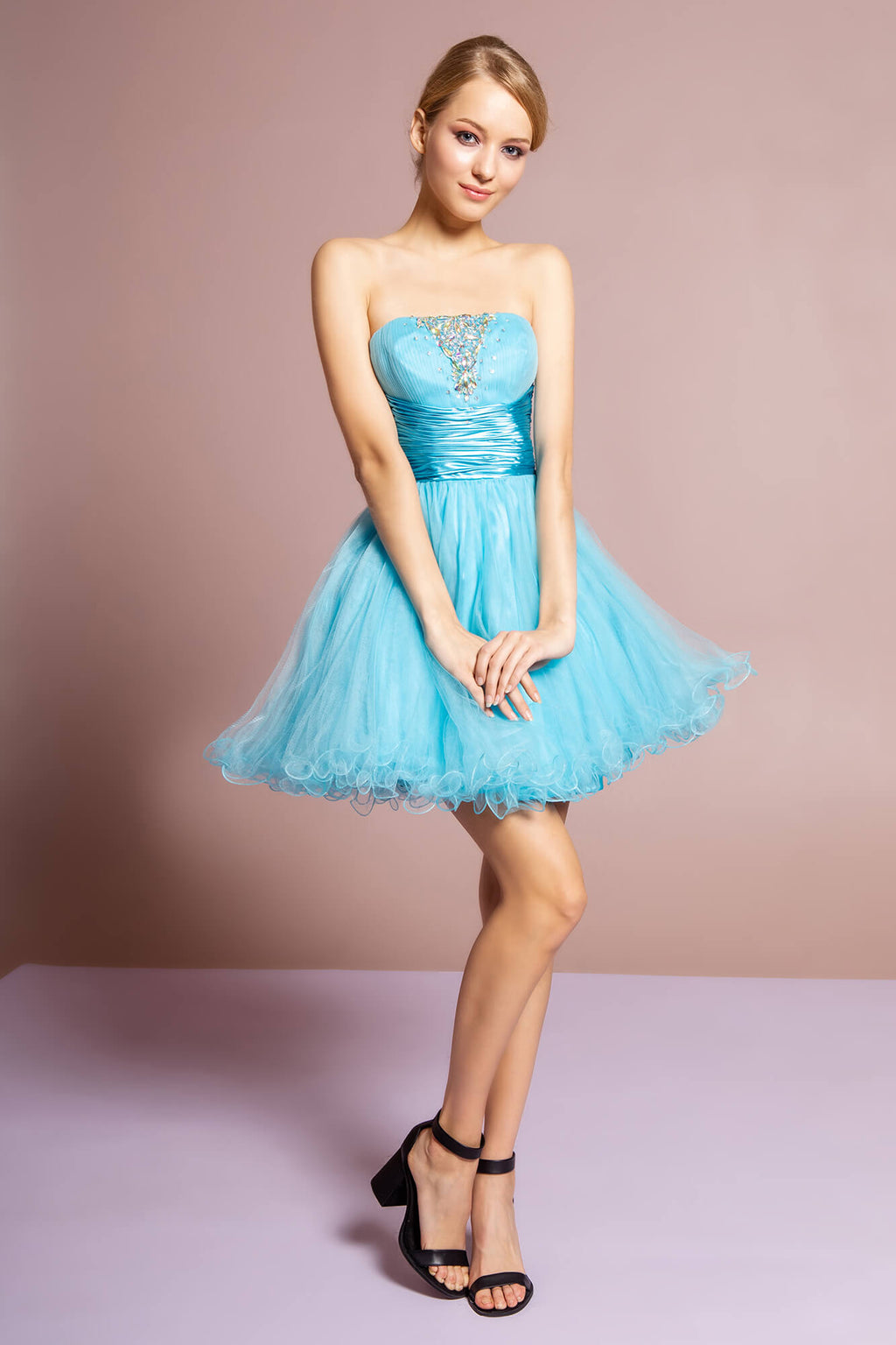 Strapless Short Prom Dress Formal Homecoming - The Dress Outlet Blue
