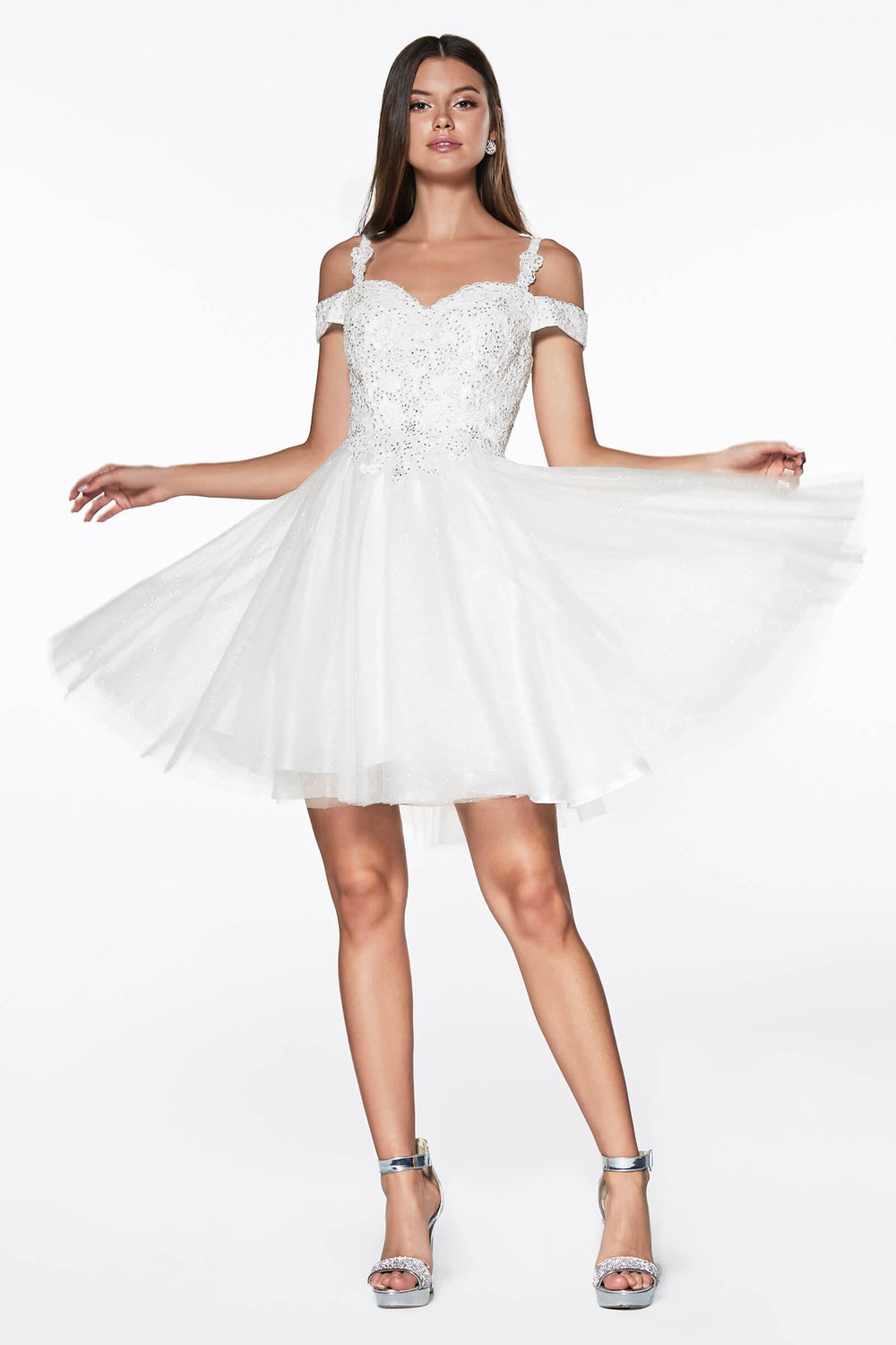 Short Prom Formal Homecoming Dress - The Dress Outlet Off White