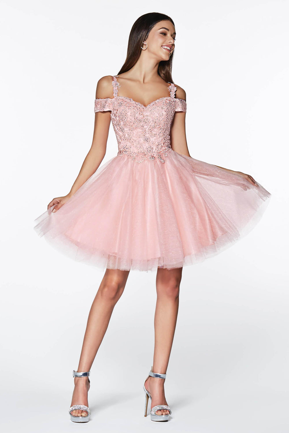 Short Prom Formal Homecoming Dress - The Dress Outlet Blush