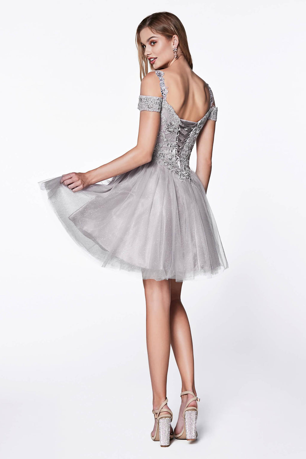 Short Prom Formal Homecoming Dress - The Dress Outlet Silver
