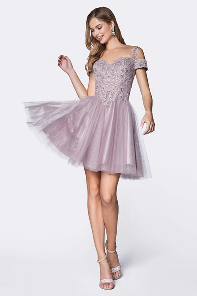 Short Prom Formal Homecoming Dress - The Dress Outlet Mauve Violet