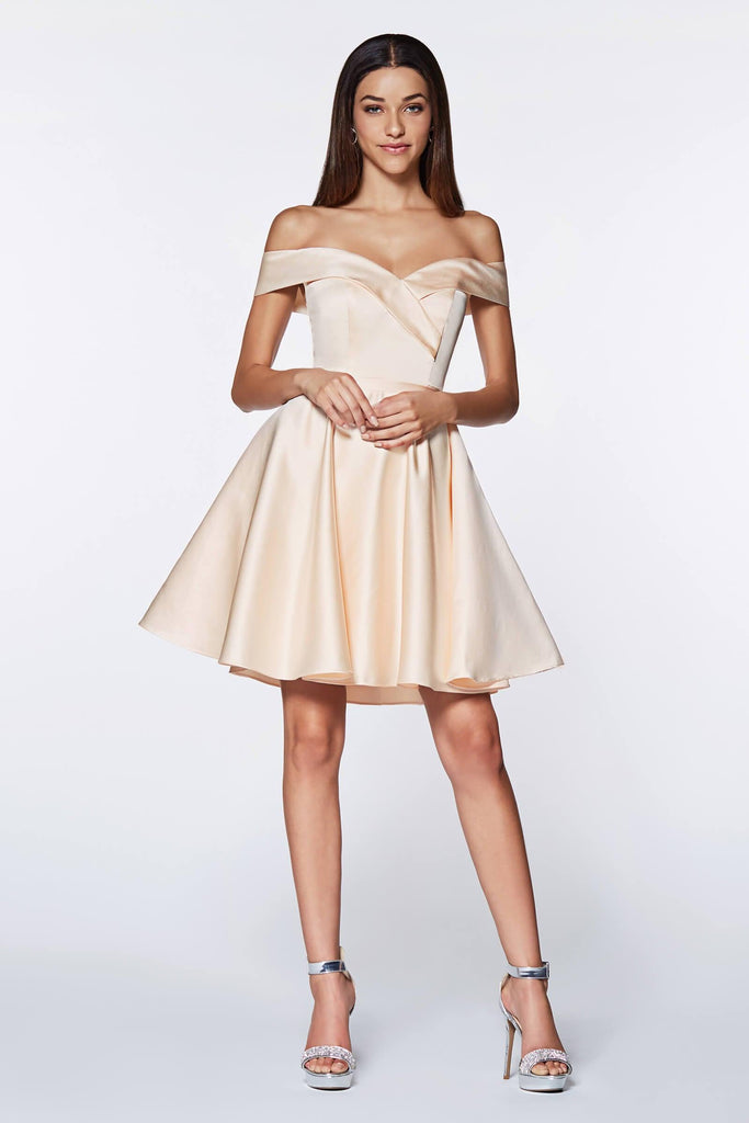 Short Prom Off the Shoulder Homecoming Cocktail Dress - The Dress Outlet Cinderella Divine