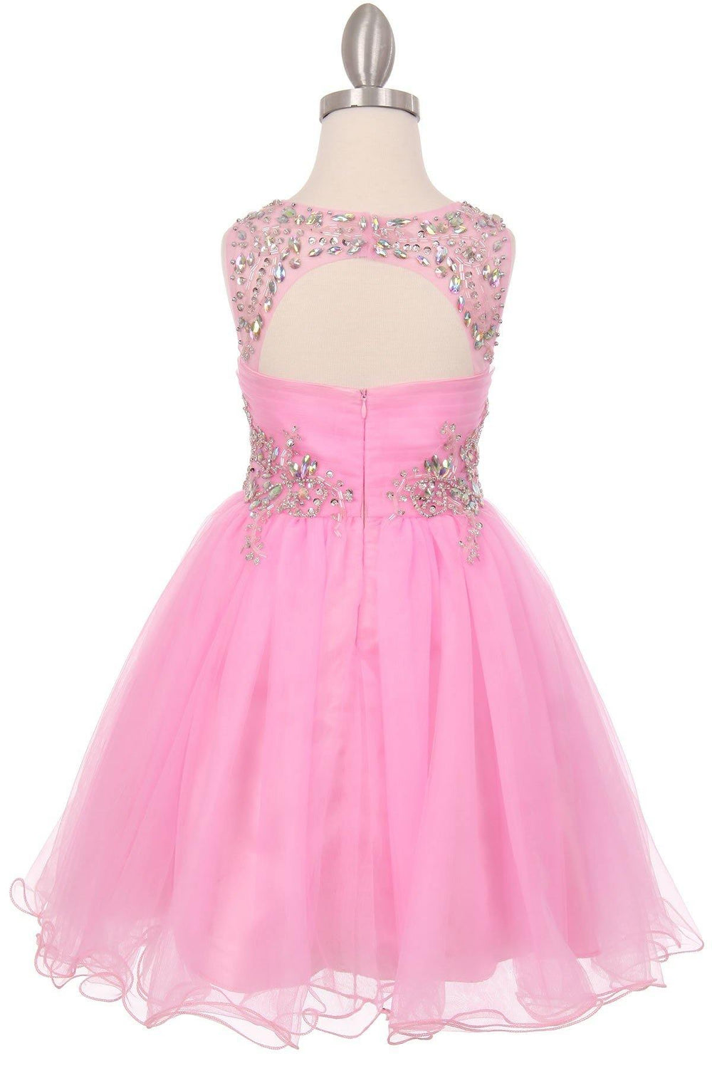 Sleeveless Flower Girl Dress with Rhinestone Bodice - The Dress Outlet