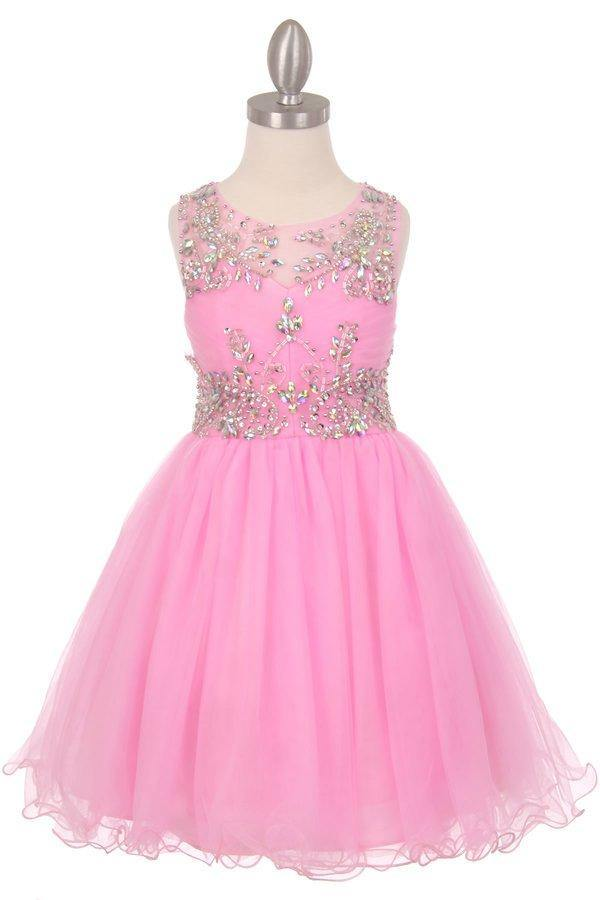 Sleeveless Flower Girl Dress with Rhinestone Bodice - The Dress Outlet Pink