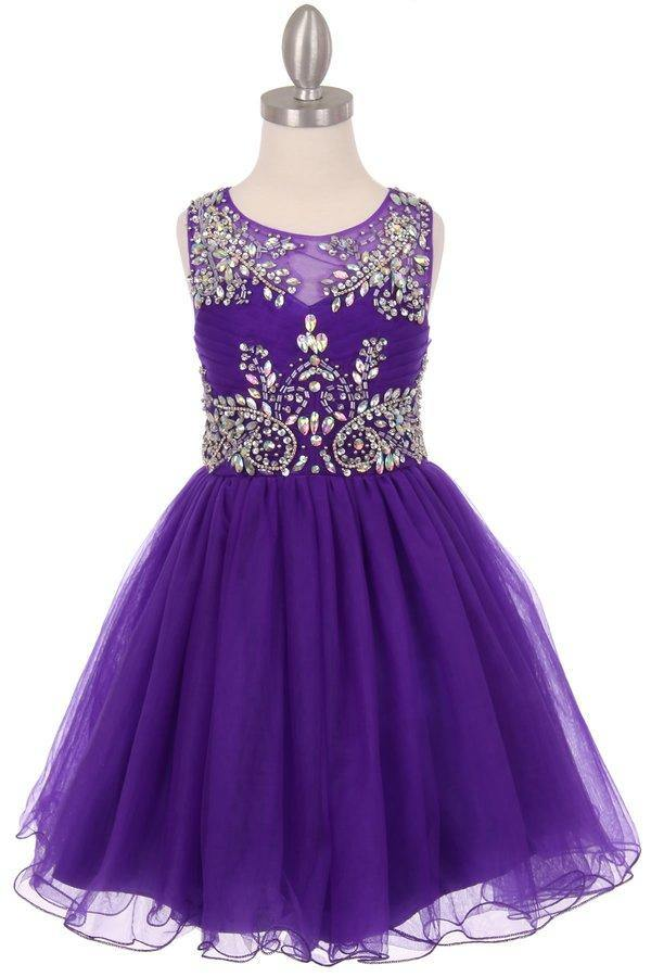 Sleeveless Flower Girl Dress with Rhinestone Bodice - The Dress Outlet Purple
