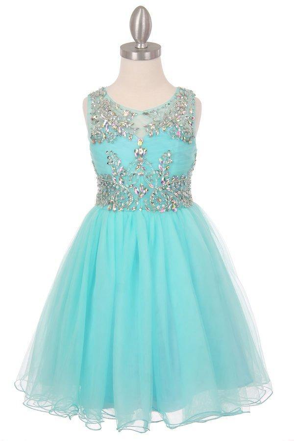 Sleeveless Flower Girl Dress with Rhinestone Bodice - The Dress Outlet Aqua