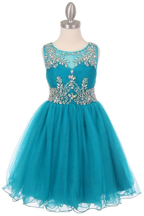Sleeveless Flower Girl Dress with Rhinestone Bodice - The Dress Outlet Teal