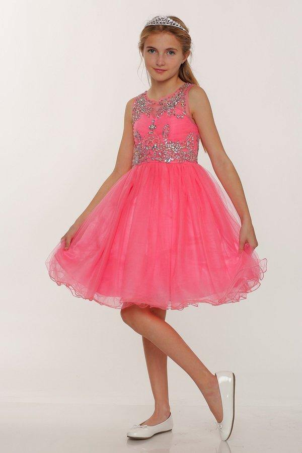 Sleeveless Flower Girl Dress with Rhinestone Bodice - The Dress Outlet Coral