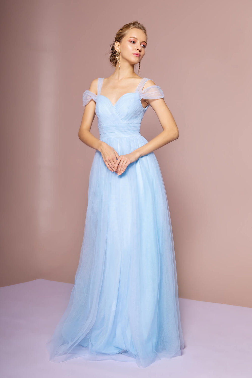 Sweethearted Formal Long Dress Bridesmaid - The Dress Outlet Baby Blue