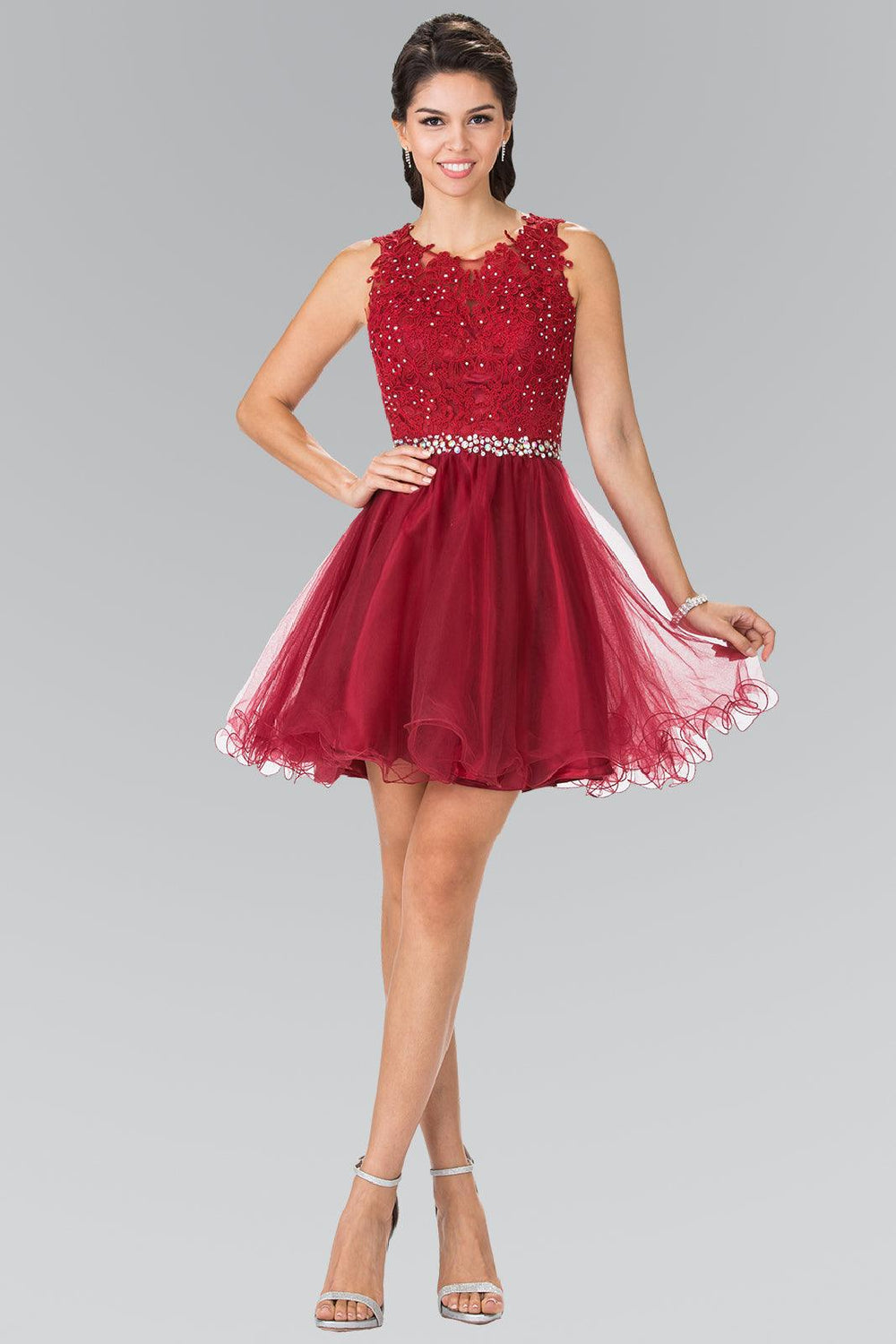 Sleeveless Prom Short Dress Homecoming - The Dress Outlet Burgundy